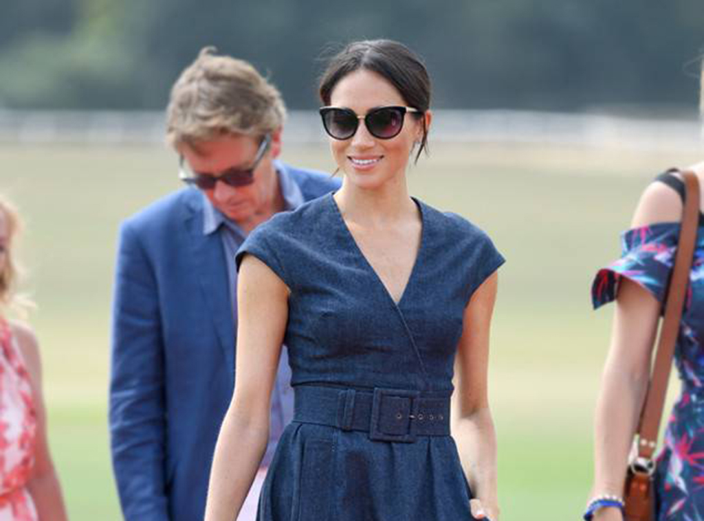 Meghan Markle Wears Denim Dress To Prince Harry's Polo Match